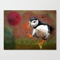 Particle Puffin Canvas Print