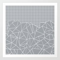 Abstract Outline Grid Gr… Art Print