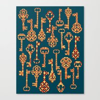 Canvas Print featuring Yellow and Red Skeleton Key Pattern by Elephant Trunk Studio