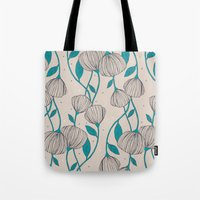 Blue Stem Flowers Tote Bag