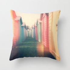 Beach Huts 02B - Retro Throw Pillow