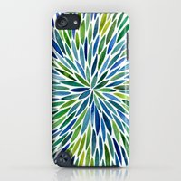 iPod Touch Cases featuring Watercolor Burst – Blue & Green by Cat Coquillette