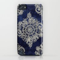 iPod Touch Cases featuring Cream Floral Moroccan Pattern on Deep Indigo Ink by micklyn
