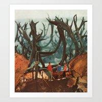 Watching Elk Art Print