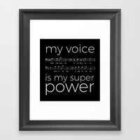 My voice is my super power (bass, black version) Framed Art Print