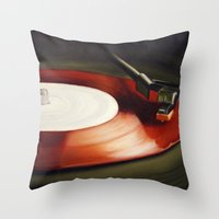 Red Record  Throw Pillow