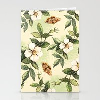 Delicate pattern with flowers and butterflies hips Stationery Cards