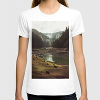 world T-shirts featuring Foggy Forest Creek by Kevin Russ