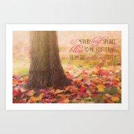 Autumn Leaves Poem Art Print