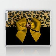 Golden Bow on Leopard Print Laptop & iPad Skin