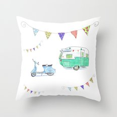June Cleaver Goes Camping Throw Pillow