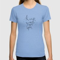 keep your eyes open Womens Fitted Tee Athletic Blue SMALL