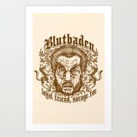 Blutbaden Sepia Art Print