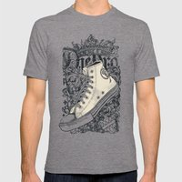 Old School King Mens Fitted Tee Tri-Grey SMALL
