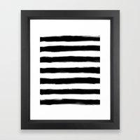 Black Paint Strokes Stripes Framed Art Print