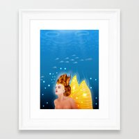 Framed Art Print featuring Mermaid by Dambar Thapa