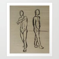 Standing Sketches Art Print