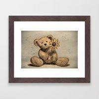 Teddybear with a sunflower Framed Art Print