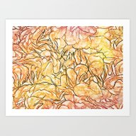Orange Painterly Floral … Art Print
