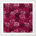 Romantic Pink roses with black outline Art Print
