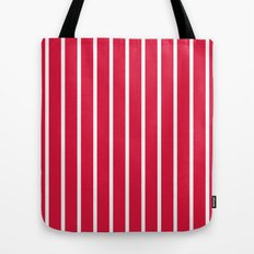 Vertical Lines (White/Crimson) Tote Bag