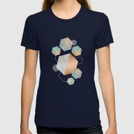 Honeycomb Concrete Womens Fitted Tee Navy SMALL