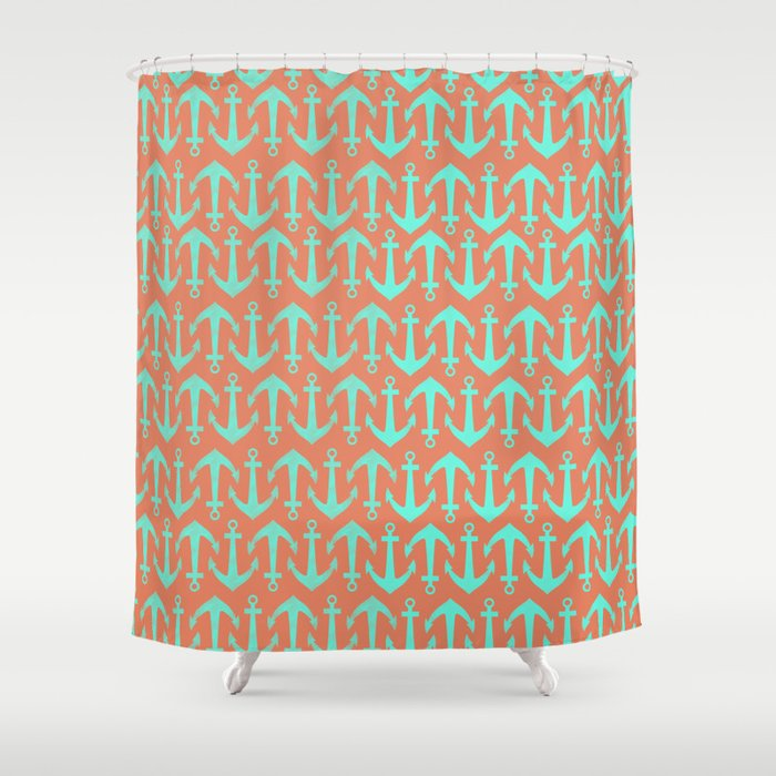Orange And Blue Anchors Shower Curtain By Allyson Johnson Society6