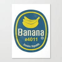 Banana Sticker On White Canvas Print