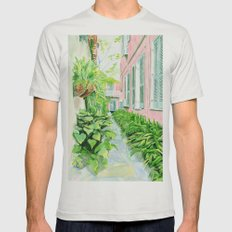 New Orleans Courtyard Mens Fitted Tee Silver SMALL