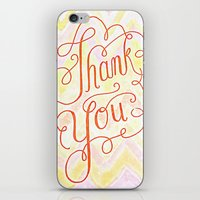 Thank you - hand lettered on chevron iPhone & iPod Skin
