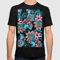 Boho Turquoise Pink Flor… Mens Fitted Tee Tri-Black SMALL