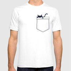Po(CAT) Mens Fitted Tee White SMALL