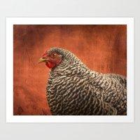 Red Chicken Art Print