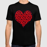 Dark stars on grunge textured bold red background Mens Fitted Tee Black SMALL