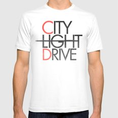 City Light Drive White SMALL Mens Fitted Tee