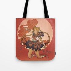 Samurai Moon Tote Bag