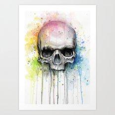 Skull Watercolor Painting Art Print