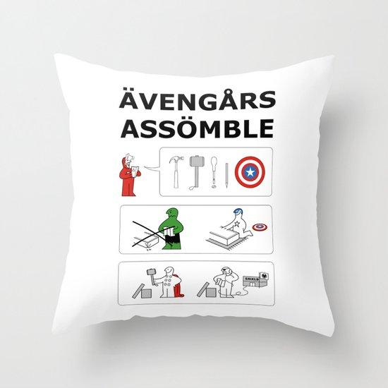 Superheroes Assembling - Colour Throw Pillow