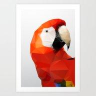 Geo - Parrot Red Art Print