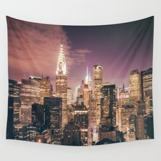 New York City - Chrysler Building Lights Wall Tapestry