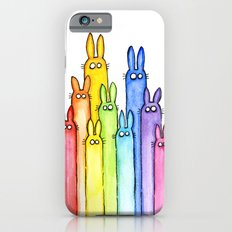Rainbow of Bunny Rabbits Watercolor  iPhone 6 Slim Case
