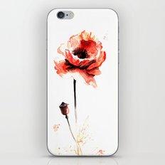 watercolor poppy iPhone & iPod Skin