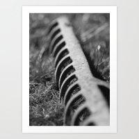 Rake in Grass Art Print