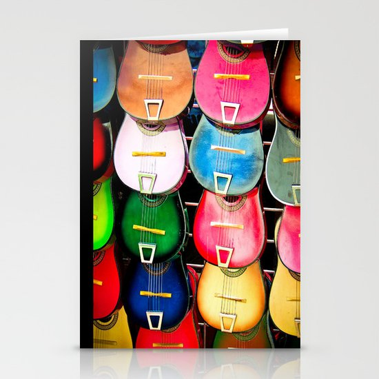 Colorful Wooden Guitars Stationery Card