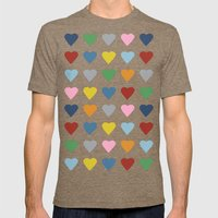 64 Hearts Black Mens Fitted Tee Tri-Coffee SMALL