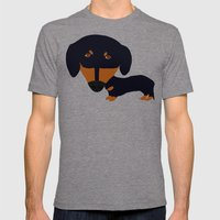 Dachshund (black and tan) Mens Fitted Tee Tri-Grey SMALL