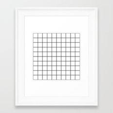 White Grid Framed Art Print