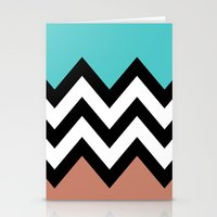 AQUA & DARK CORAL CHEVRON COLORBLOCK Stationery Cards
