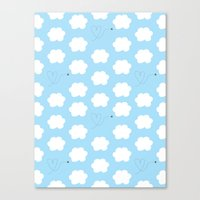 Cloud and Bee Pattern Canvas Print