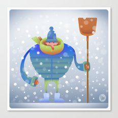Shoveling snow... Canvas Print